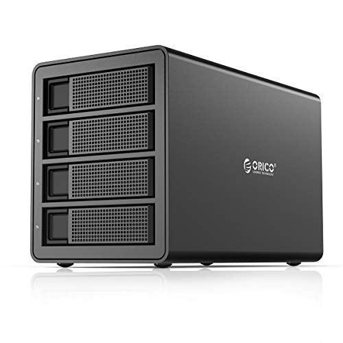 ORICO 4 Bay USB 3.0 to SATA External Hard Drive Enclosure Support 64TB, 2.5/3.5 inch HDD SSD Enclosure Built-in 150W Power/Dual Chip for Chia Enterprise Data Storage Backup, Server Expansion (No RAID)