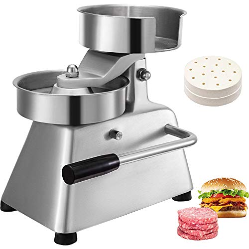 VBENLEM Commercial Hamburger Patty Maker 130mm/5inch Stainless Steel Burger Press Heavy Duty Beef Meat Forming Processor with 1000Pcs Papers, Sliver
