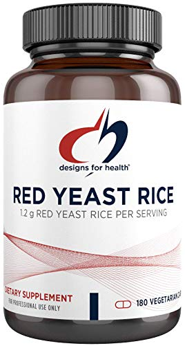 Designs for Health Red Yeast Rice Capsules - 1200mg (1.2g) Organic RYR to Support Cardiovascular Health + Maintenance of Lipid Levels in Normal Range - Non-GMO + Gluten Free (180 Capsules)