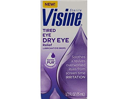 Visine Tired Eye Dry Eye Relief Lubricant Eye Drops, 0.5 oz (Value Pack of 3)