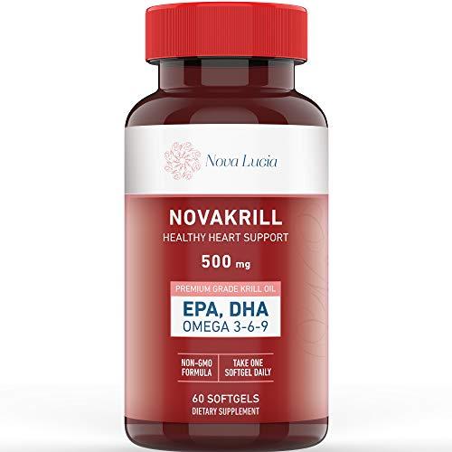 Natural Krill Oil Omega 3 6 9 Supplement, Burpless 60 Red Liquid Softgels, Rich in EPA, DHA, Astaxanthin, No Fishy Aftertaste, 1000mg per 2 Softgels