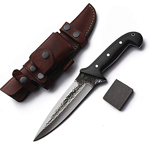 GCS Handmade D2 Steel Hunting Knife Micarta Handle Tactical Knife Fixed Blade Knife with Right Hand Front Cross Draw Buffalo Leather Sheath for Hunting Camping Survival and EDC GCS 131