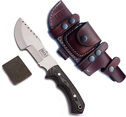 GCS Handmade Tracker Knife D2 steel Hunting Knife Tactical Knife G10 Handle Fixed Blade Knife Survival Knife Right Hand Scout Carry Buffalo leather Sheath for Hunting Camping Survival and EDC GCS 256
