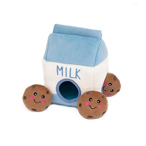 ZippyPaws - Food Buddies Burrow, Interactive Squeaky Hide and Seek Plush Dog Toy - Milk and Cookies