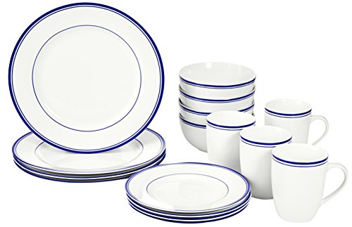Amazon Basics 16-Piece Cafe Stripe Kitchen Dinnerware Set, Plates, Bowls, Mugs, Service for 4, Blue