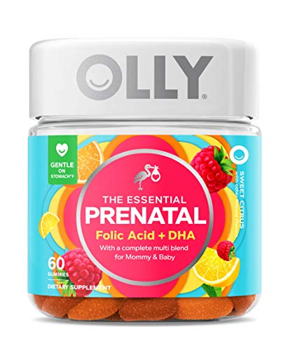 Olly The Essential Prenatal Gummy Multivitamin, 30 Day Supply ( Gummies), Sweet, Folic Acid, Vitamin D, Omega 3 DHA, Chewable Supplement, White Citrus, 60 Count (Pack of 1)