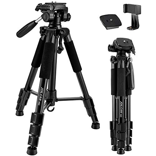 """65"""" Camera Tripod Compact Light Weight Travel Aluminum Camera/Phone Tripod for Canon Nikon with 2PC Quick Plates and Universal Phone Mount 11 lbs Load (Black)"""