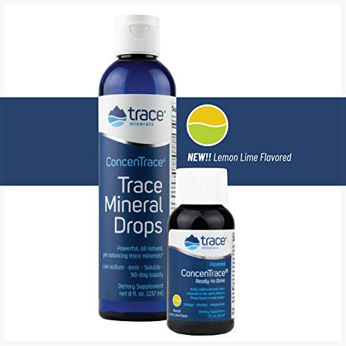 Electrolytes ConcenTrace Trace Mineral Drops 9 Oz (1 Oz Flavored Included) Potassium and Magnesium Supplements for Hydration and Immune Support Keto Vegan   108 Serving