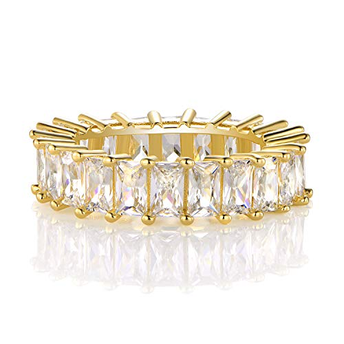14K Gold Plated Ring Cubic Zirconia Emerald Cut Eternity Ring Band for Women (5)
