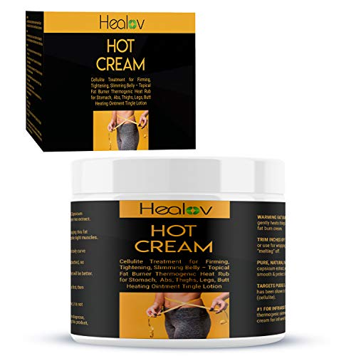 Healov Hot Cream Cellulite Treatment for Firming, Tightening, Slimming Belly – Topical Fat Burner Thermogenic Heat Rub for Stomach, Abs, Thighs, Legs, Butt – Heating Ointment Tingle Lotion