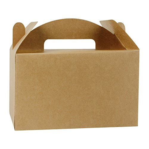 LaRibbons 12 Pack Treat Gift Boxes - 9.5 x 5 x 5 inches Brown Paper Box Recycled Kraft Gift Box with Stickers, Perfect for Birthday, Party, Wedding