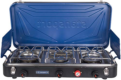 STANSPORT - Outfitter Series Portable 3-Burner Propane Camping Stove (Blue and Black)