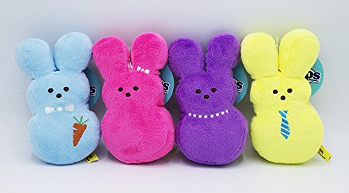 Peeps Plush Bunny Toys for Dogs, Embroidered, Soft, Stuffed and Squeaky, Medium, 4-Piece Set