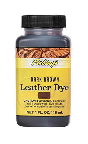 Fiebing's Leather Dye 4oz Dark Brown - alcohol based penetrating & permanent leather dye