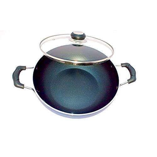 Induction Base Deep Fry Kadai Non-Stick Aluminium Kadhai Deep Fry Pan Nonstick 2.2 litre Nonstick All Purpose Pan Cooking Pan Non-Stick Kadai with Glass Lid