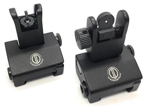 Dagger Defense -Combat Vet Owned Company- Tactical flip up BUIS Picatinny Rail Mounted Backup Iron Sights.