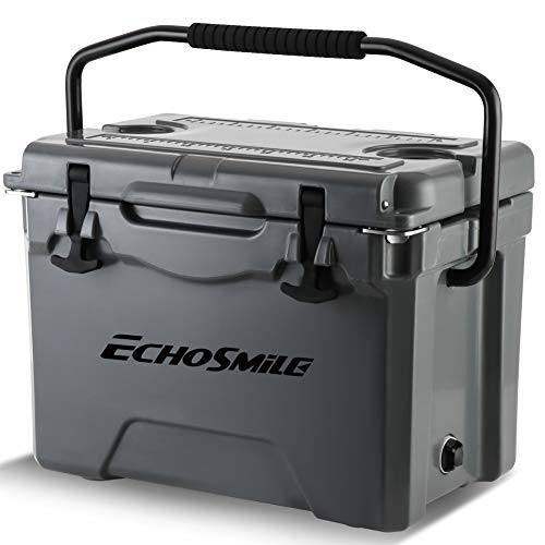 EchoSmile Grey Cooler, 25 Quart Rotomolded Cooler, Portable 5 Day Ice Cooler, Heavy Duty Ice Chest (Built-in Bottle Openers, Fishing Rule, Cup Holders and Lockable Corners) for Camping, Fishing