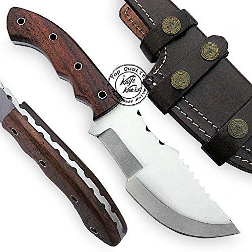 Beautiful Rose Wood Handmade D2 Steel Tracker Hunting Knife Prime Quality