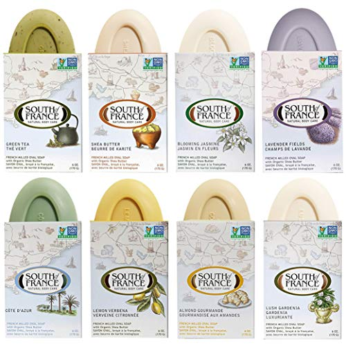 Variety Pack of Natural Bar Soaps by South of France Natural Body Care | Triple-Milled French Soap with Organic Shea Butter + Essential Oils | Vegan, Non-GMO Body Soap | 6 oz Bar – 8 Pack | Variety 1