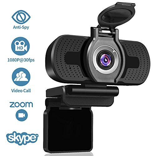 Dericam 1080P Webcam with Microphone& Privacy Cover, HD Streaming Webcam for PC Video Conferencing/Gaming, Laptop/Desktop Mac, Computer Web Camera for Skype/YouTube/Zoom/Facetime, W2, US, Black