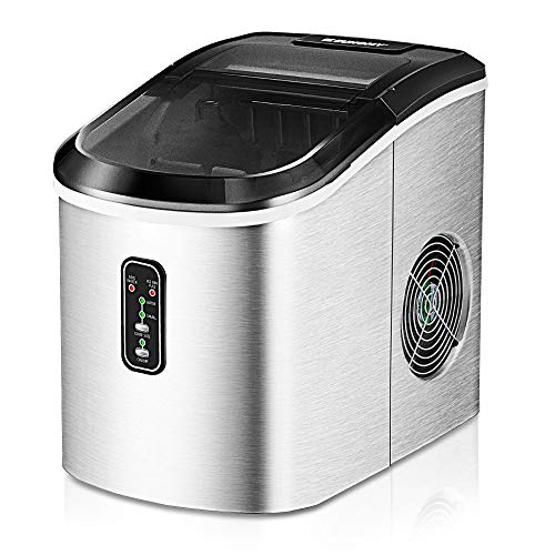 Euhomy Ice Maker Machine Countertop, 26 lbs in 24 Hours, 9 Cubes Ready in 6 Mins, Electric ice maker and Compact potable ice maker with Ice Scoop and Basket. Perfect for Home/Kitchen/Office.(Sliver)