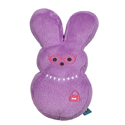 Peeps for Pets Bunny 6 Inch Purple Dress-Up Bunny Plush Dog Toy   Dog Chew Toy for All Dogs with Pearl Necklace   Small Dog Toy Made from Soft Plush Fabric
