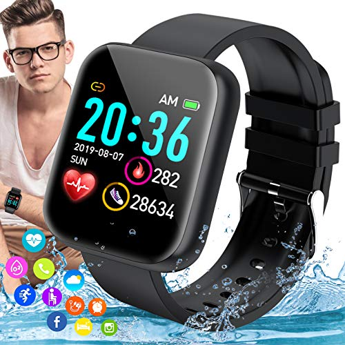 iFuntecky Smart Watch, Ip67 Waterproof Smartwatch for Android Phones, Sport Fitness Watch with Blood Pressure Heart Rate Monitor with Pedometer Calorie Compatiable for Samsung Women Men