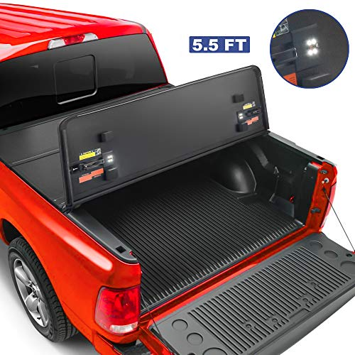 MOSTPLUS Tri-Fold Hard Truck Bed Tonneau Cover On Top Compatible for 2015-2020 FORD F150 F-150 Bed 3 Fold Styleside Solid (5.5 FT Feet Bed) 66 Inch