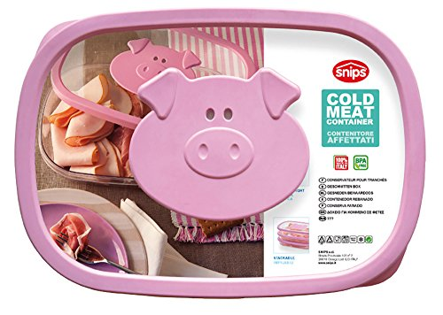 Snips Stackable Storage Cold Meat Saver, Clear with Pink Pig