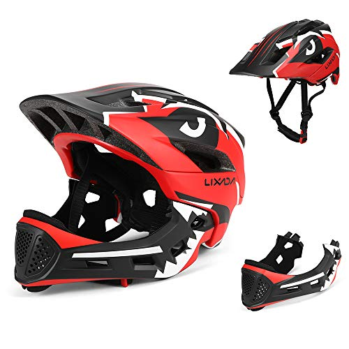 Lixada Kids Bike Helmet,Detachable Full Face Helmet for Adjustable Cycling Helmet for 3-15 Years Children Bicycle, Skateboard, Scooter, Rollerblading,Protective Gear (20.5-22 Inches)