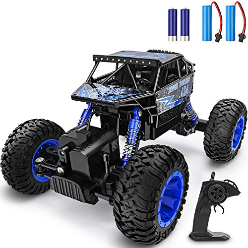 YEZI RC Car 1:18 Large Scale, 2.4Ghz All Terrain Waterproof Remote Control Truck with 2 Batteries,4x4 Electric Rapidly Off Road Car for, Remote Control Car for Kids Boys and Adults