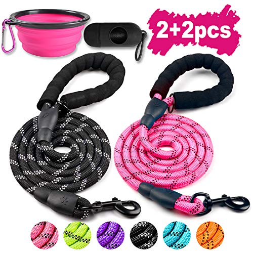 COOYOO 2 Pack Dog Leash 5 FT Heavy Duty Radiant Colors, Reflective Rope - Padded Handle - Reflective Dog Leash for Medium Large Dogs with Collapsible Pet Bowl…