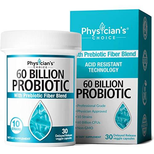 Probiotics 60 Billion CFU - Dr. Approved Probiotics for Women, Probiotics for Men and Adults, Natural, Shelf Stable Probiotic Supplement with Organic Prebiotic, Acidophilus Probiotic, 30 Capsules
