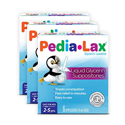 Pedia-Lax Laxative Liquid Glycerin Suppositories for Kids, Ages 2-5, 6 CT, 3 Pack