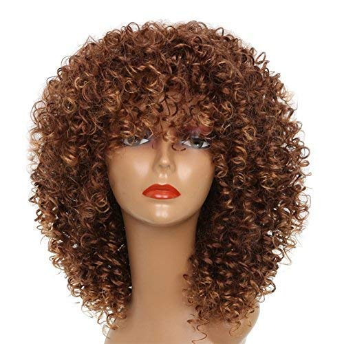 XINRAN Brown Curly Afro Wig for Black Women,Short Kinky Curly Wig with Bangs,Synthetic Afro Full Hair Wig 14inch