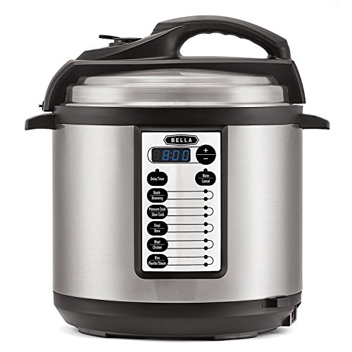 BELLA 10-In-1 Multi-Use Programmable Pressure Cooker, Slow Cooker, Rice Cooker, Steamer, Sauté Warmer with Searing and Browning Feature, 6 Quart, 1000 Watts (14467)