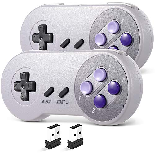 2 Pack 2.4 GHz Wireless USB Controller Compatible with Super NES Games, SAFFUN SNES Retro USB PC Super Classic Controller for Windows PC MAC Linux Genesis Raspberry Pi Retropie (Purple/Gray)