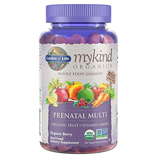 Garden of Life - mykind Organics Prenatal Gummy Vitamins - Berry - Organic, Non-GMO, Complete Vegan Multi - Methyl B12, D3 & Folate - Gluten Free - 120 Real Fruit Chew Gummies Packaging May Vary