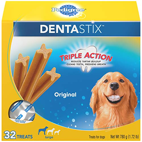 PEDIGREE DENTASTIX Large Dog Dental Treats Original Flavor Dental Bones, 1.72 lb. Pack (32 Treats)