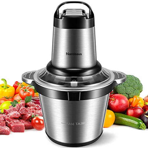 Narcissus Electric Meat Grinder, 14 Cup 3.5L Large Capacity Professional Stainless Steel Food Processor Chopper with 500W Super Power for Meat Vegetables Onion Quick Chopping, includes a Scraper