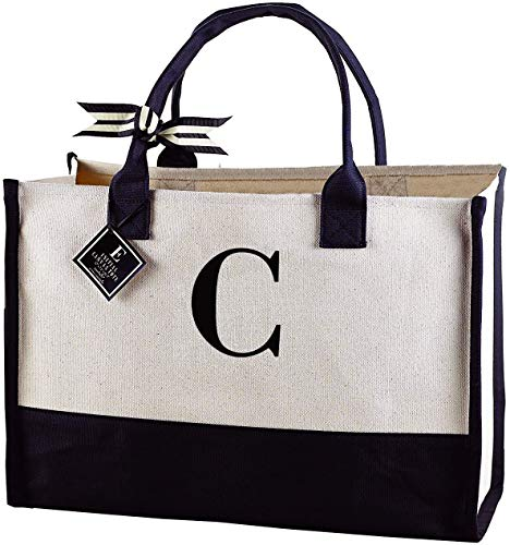 Mud Pie Classic Black and White Initial Canvas Tote Bags (C), 100% Cotton, 17' x 19' x 2'