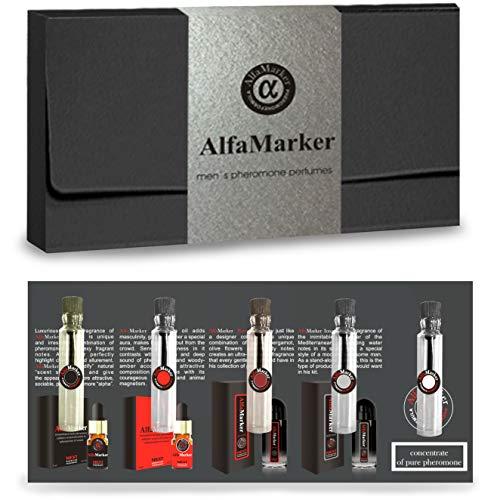 Alfamarker Pheromones for Men Perfume Set to Attract Women. 5 Male Pheromone Perfumes x 2ml. 4 Oil Based Mens Extra Pheromones Perfume Formula +1 Pure Pheromone Unscented Oil Essence Formula for Him