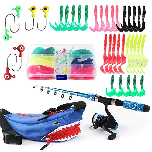 Kids Fishing Pole Reel Combos, Ultralight Telescopic 1.5m/5ft Fishing Rod + Spinning Reel + Spincast Baits + Fishing Line with Portable Tackle Box for Boys Girls Youth Anglers Freshwater Saltwate