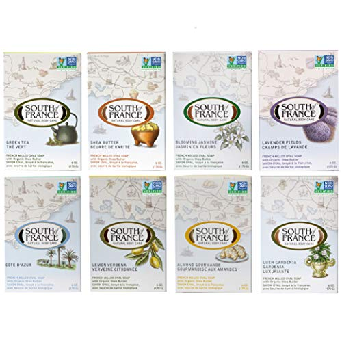 Variety Pack 1 - South of France Natural Body Care Triple Milled Large 6OZ Bar Soap (8 Bars)