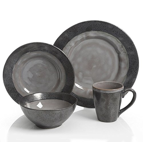 Gibson Dragonstone 16 pc Dinnerware Set Grey Stoneware, Gray -