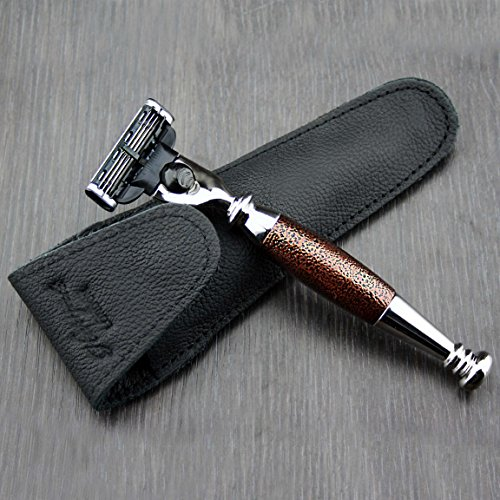 Haryali London 3 Edge Shaving Razor With Hand Assembled Maroon Antique Handle Beard and Mustache Safety Razor For Mens With Leather Pouch