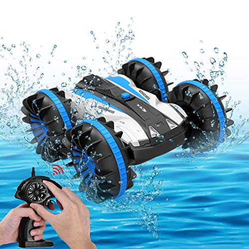 Toys for 5-10 Year Old Boys Amphibious RC Car for Kids 2.4 GHz Remote Control Boat Waterproof RC Monster Truck Stunt Car 4WD Remote Control Vehicle Girls All Terrain Christmas Birthday Gifts