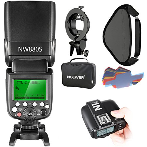 Neewer 2.4G Wireless 1/8000 HSS TTL Master/Slave Flash Speedlite Kit for Sony Camera with New Mi Shoe,Includes:NW880S Flash,N1T-S Trigger,S-Type Bracket,16x16 inches Softbox,20 Pieces Color Filter