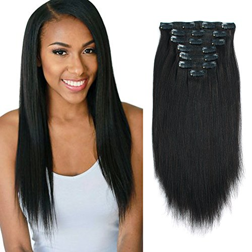 Lovrio 9A Real Remy Thick Double Weft Clip on Human Extensions Yaki Straight Natural Black Color for African American Full Head Soft Virgin Hair 7 Pieces 120g with 17 Clips YK 12'