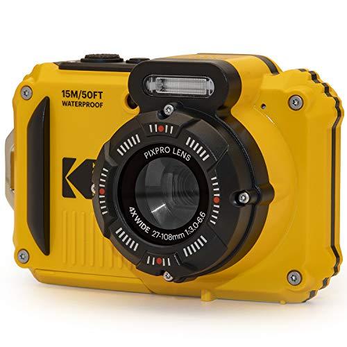 KODAK PIXPRO WPZ2 Rugged Waterproof Digital Camera 16MP 4X Optical Zoom 2.7' LCD Full HD Video, Yellow